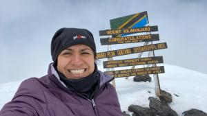 Adriana climbed to Kilimanjaro summit in 2020 March
