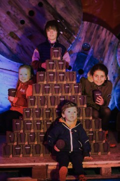 Ciara O'Sullivan, Jake Dunlea, Tiernan Kelly and Annie-Rose Vogel, making a mountain out of specially designed heat-retaining biodegradable coffee cups donated by Kerry County Council's Environmental Department
