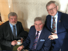 Micko sharing sporting memories over a cup of tea with Eoin Liston and Cllr Donal Grady