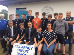 Under 14 champions JR Spares with tournament officials and sponsors