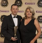Paul O'Sullivan, Killarney Towers Hotel, receives the Best Hotel Pub award