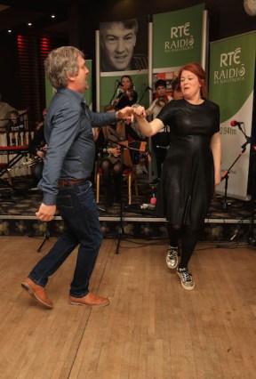 Hup: Radio na Gaeltachta broadcasters, Bláthnaid Ní Chofaigh and Pádraig Ó Sé performing a Kerry set
