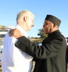 Bishop Ray is greeted by Bishop Tesfaselassie of Adigrat