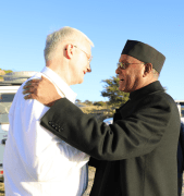 Bishop Ray is greeted by Bishop Tesfaselassie of Adigrat