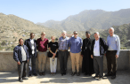 The visiting party from Ireland to Ethopia is welcomed by locals