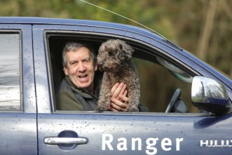 Park Ranger Peter O'Toole and his dog Oscar keeping an eye on the athletes