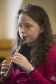 Colleen Angland at a tin whistle workshop