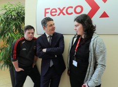 Minister Paschal Donohoe chats with staff members at Fexco, Cathal Griffin, Supplies Ambassador and Sharon O'Sullivan, Canteen Operator