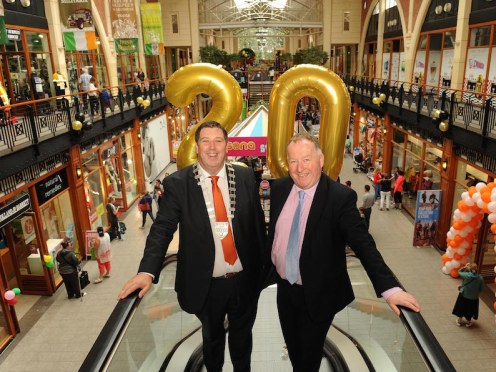 Cllr Niall Kelleher, Mayor of Kerry, and Killarney Outlet Centre manager Paul Sherry launch the 20th anniversary celebrations