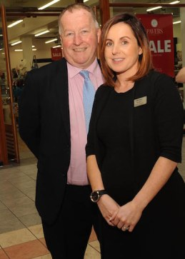 Killarney Outlet Centre manager Paul Sherry and Pavers shoe store manager, Denise Smyth, who started work on the opening day of Killarney Outlet Centre 20 years ago