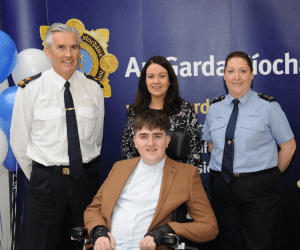 Ian O'Connell receiving his award last year from Superintendent Flor Murphy, Garda Diane Collins and Garda Catherine Murphy