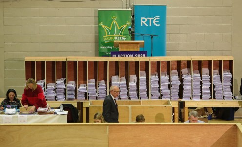 Stacked high: All the votes sorted and ready for counting