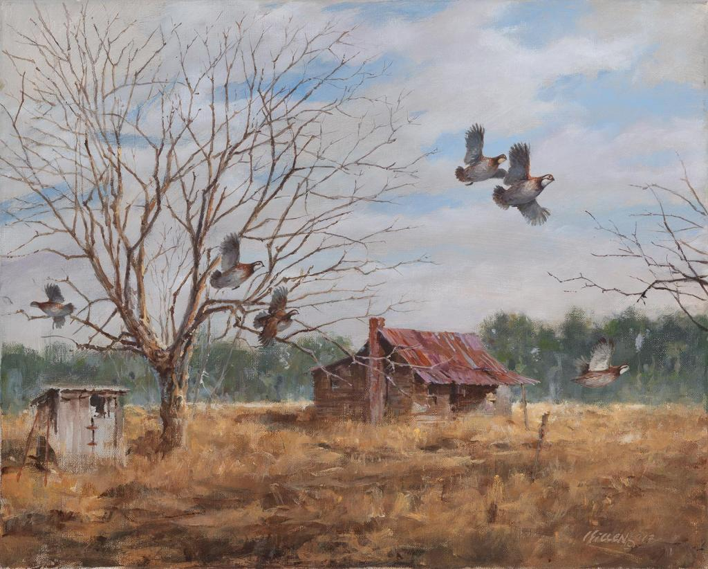 """The Homesteaders"" - Bob White Quail - Original Painting by Jim Killen"