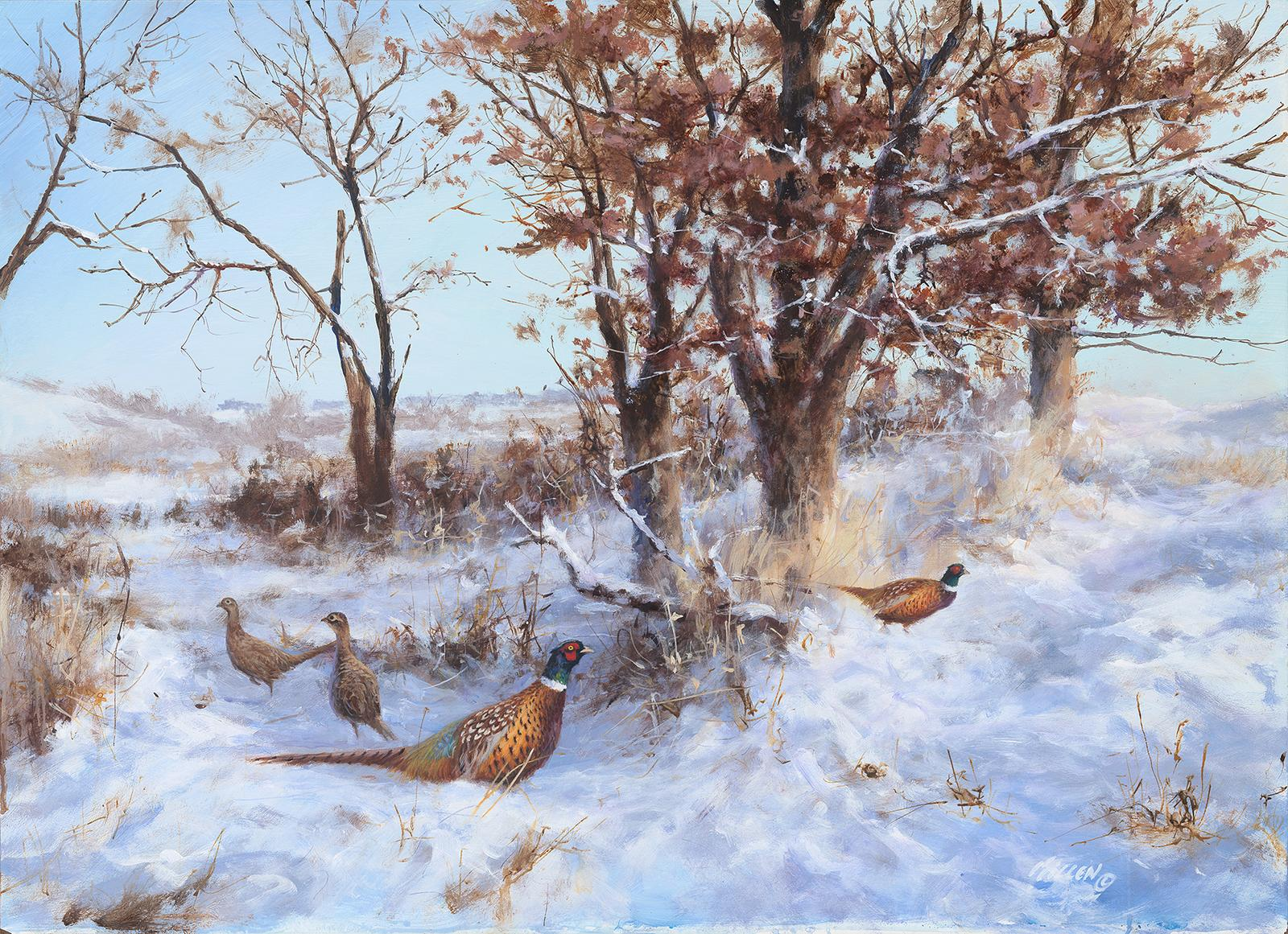 """Red Oak Refuge"" Pheasant Painting by Jim Killen"