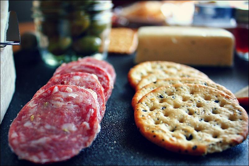 salami and crackers
