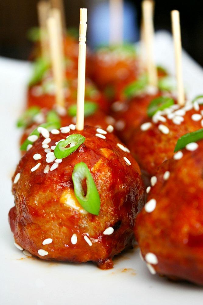 Sticky Sriracha Meatballs 2