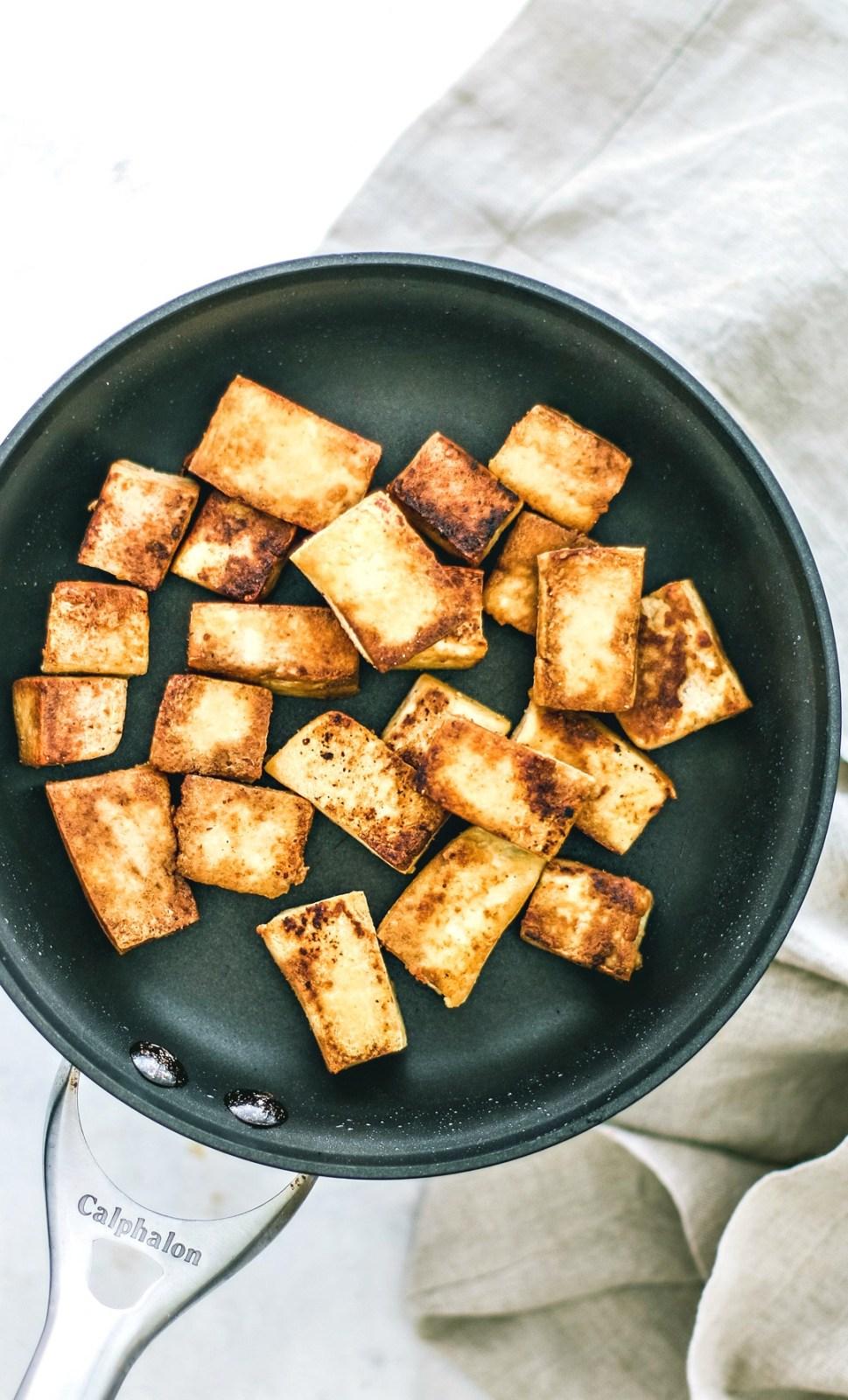 Pan of crispy tofu.