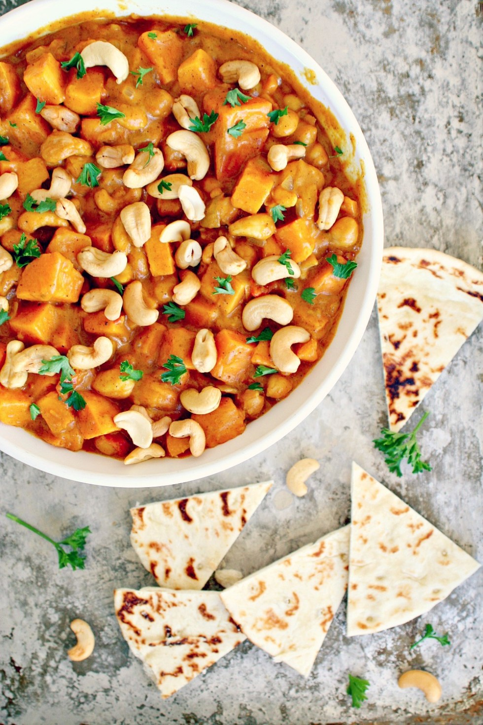 Sweet Potato and Chickpea Curry with Cashews