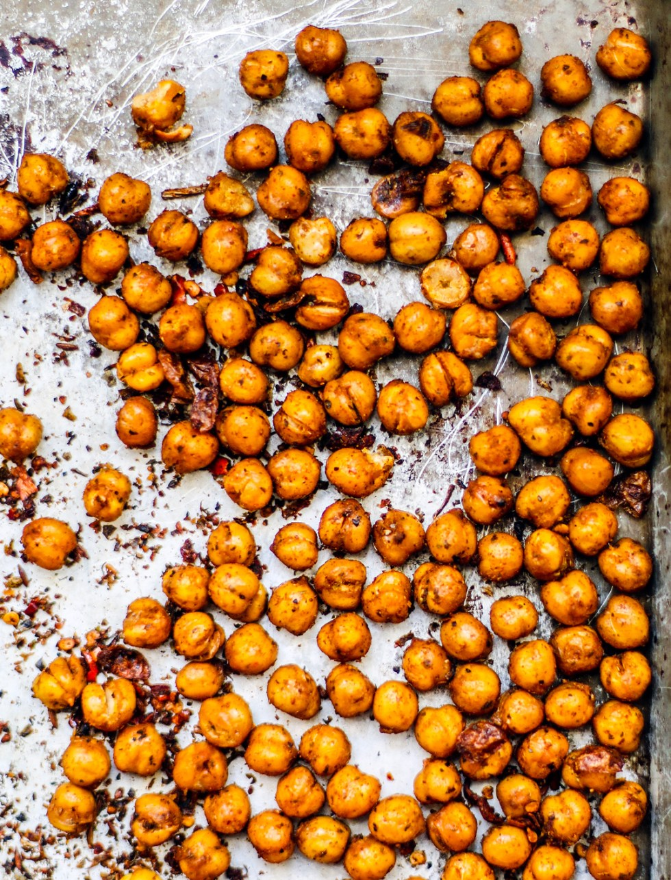 Baking tray full of crispy chipotle chickpeas.