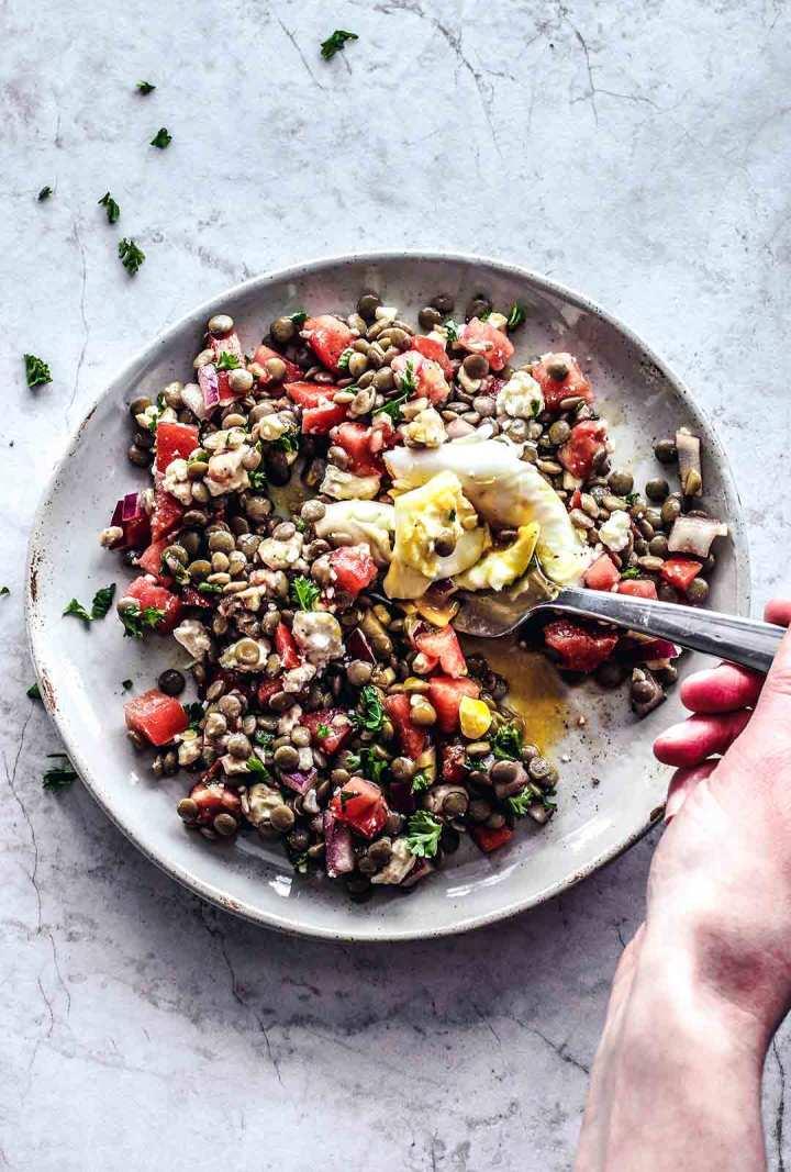 Refreshing Bruschetta Lentils With Feta | Killing Thyme