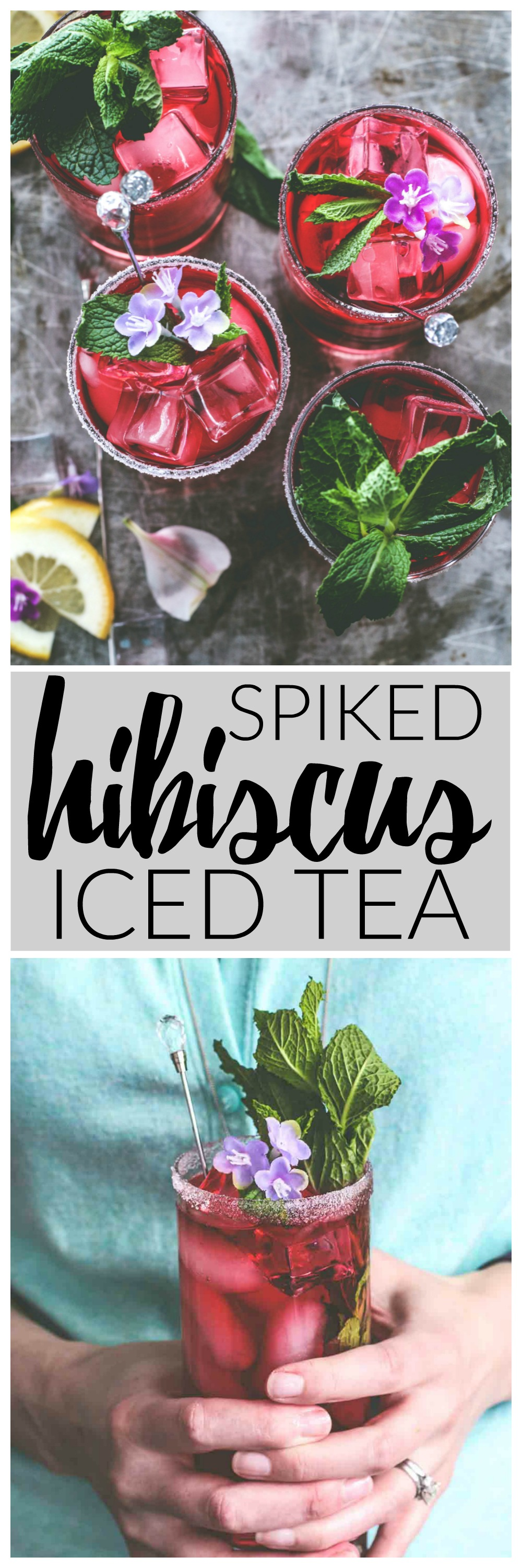Spiked Hibiscus Iced Tea | Killing Thyme — this ruby-hued drink mixes blueberry vodka with hibiscus iced tea and a lemony simply syrup for a refreshing and not-too-sweet summer bev.