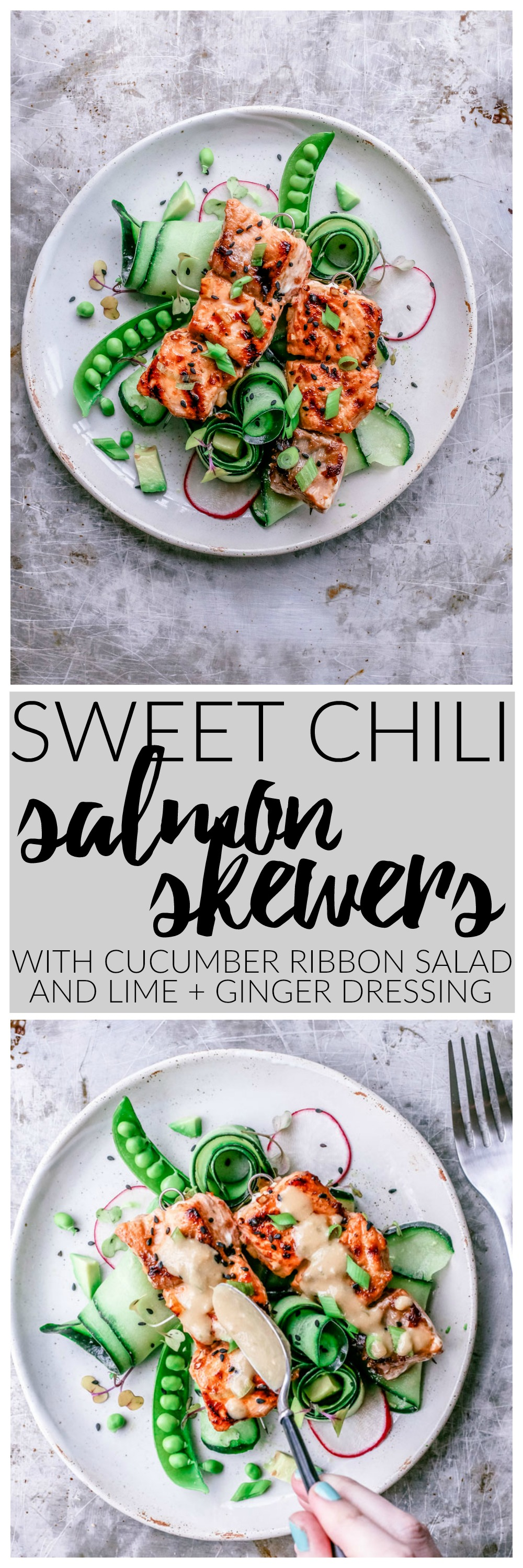 Sweet Chili Salmon Skewers With Cucumber Ribbon Salad and Lime + Ginger Dressing | Killing Thyme — this dish is the perfect way to welcome the warm weather, especially out on the patio with a crisp glass of white wine!