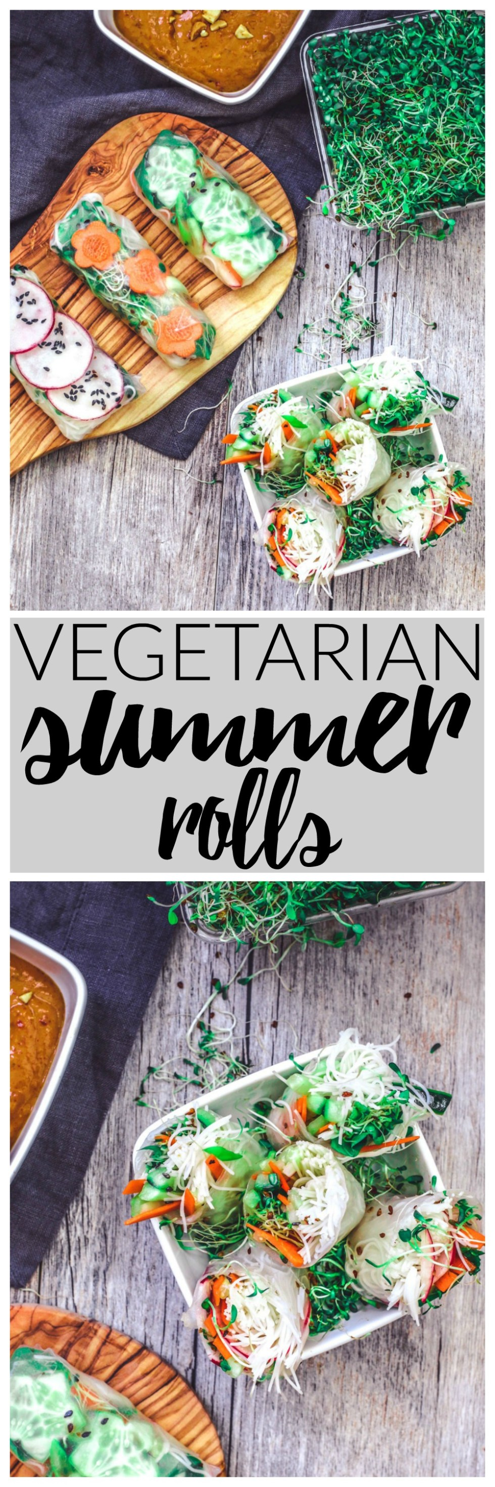 Vegetarian Summer Rolls With Spicy Peanut Sauce | Killing Thyme — These refreshing AF summer rolls are full of crisp veggies and are especially delish when dunked into spicy peanut sauce!