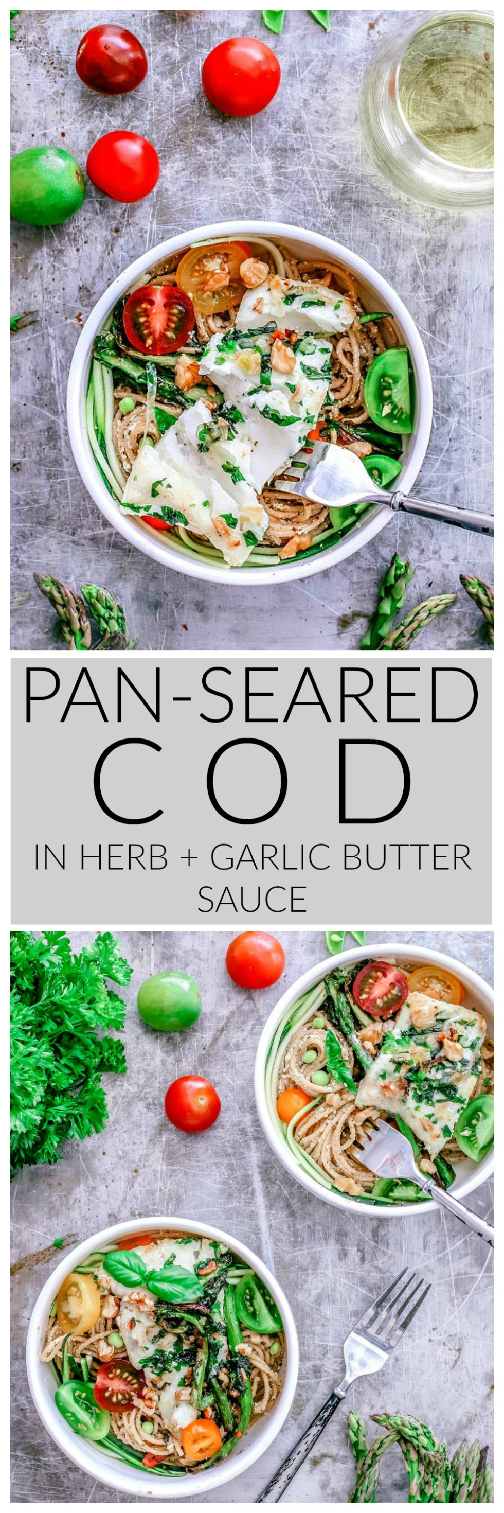 Pan-Seared Cod in Herb and Garlic Butter Sauce With Pesto Pasta | Killing Thyme