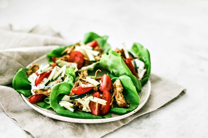 Instant Pot Chicken Shawarma Lettuce Cups on a plate