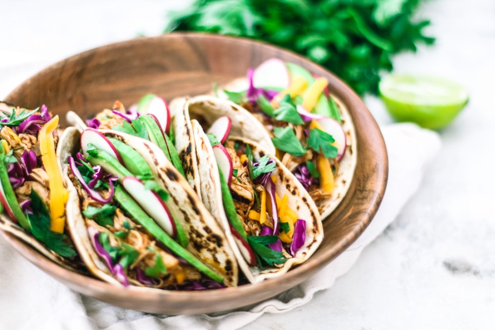 Instant Pot Chipotle Chicken Tacos in a bowl