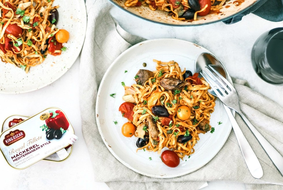 One-Pot Mediterranean Pasta With Mackerel on a plate