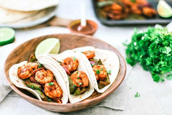 Sheet Pan Shrimp Fajitas With Chiles plated