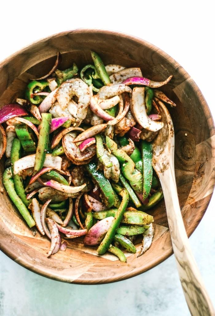 Sheet Pan Shrimp Fajitas With Chiles ingredients in a bowl