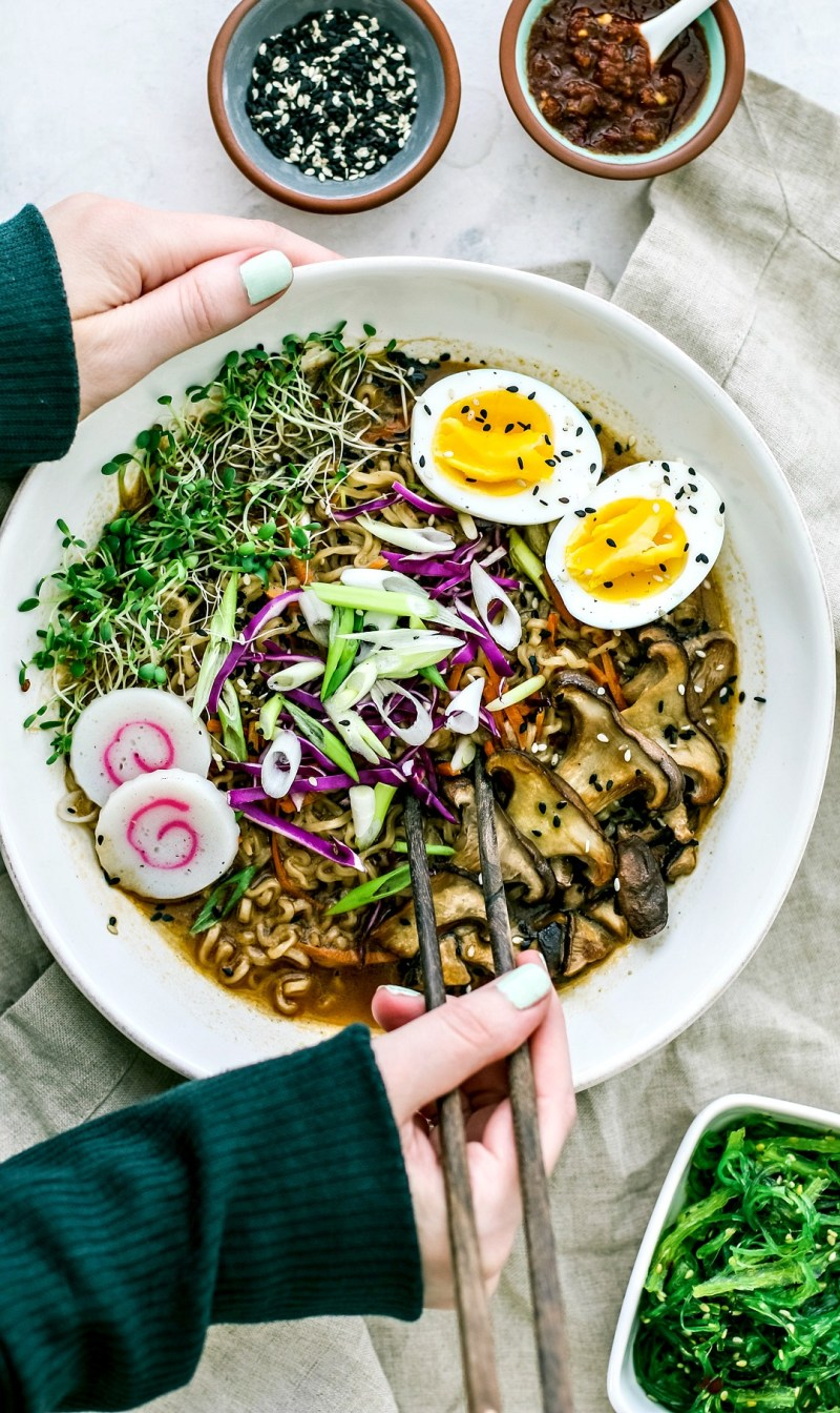 Bowl of green tea ramen