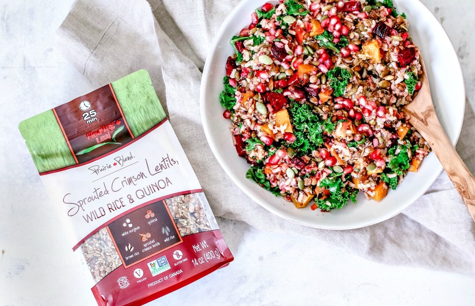 Fall Harvest Wild Rice Medley in a serving bowl collage with package of rice.