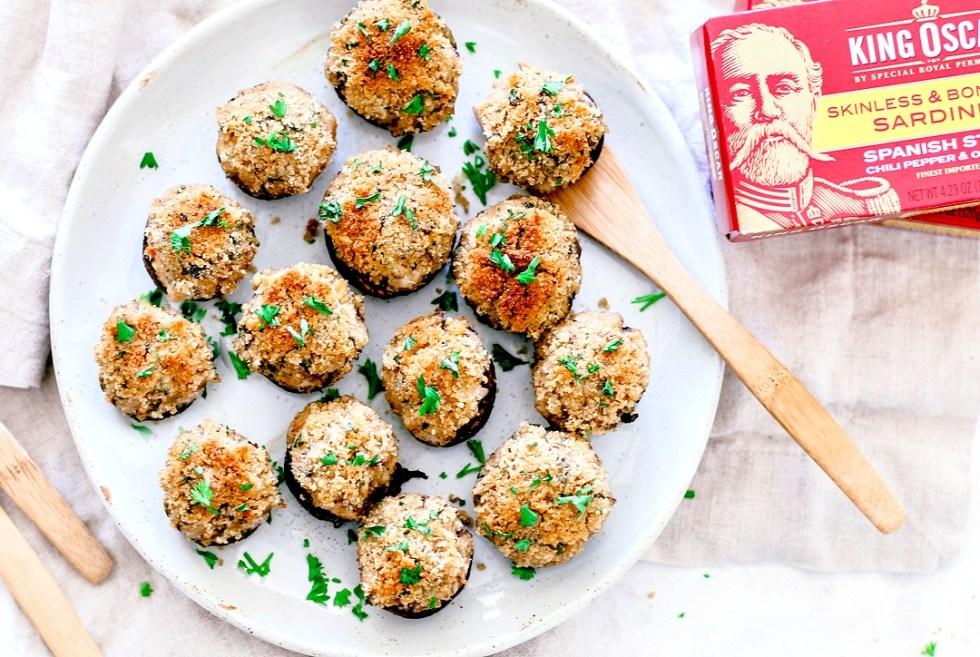 Plate of stuffed mushrooms