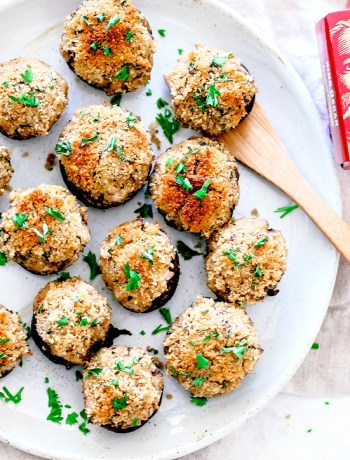 Plate of stuffed mushrooms