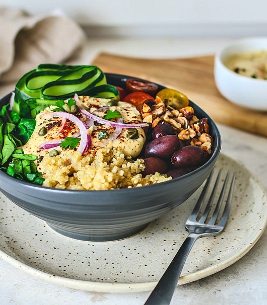 Bowl of Mediterranean Quinoa Salad