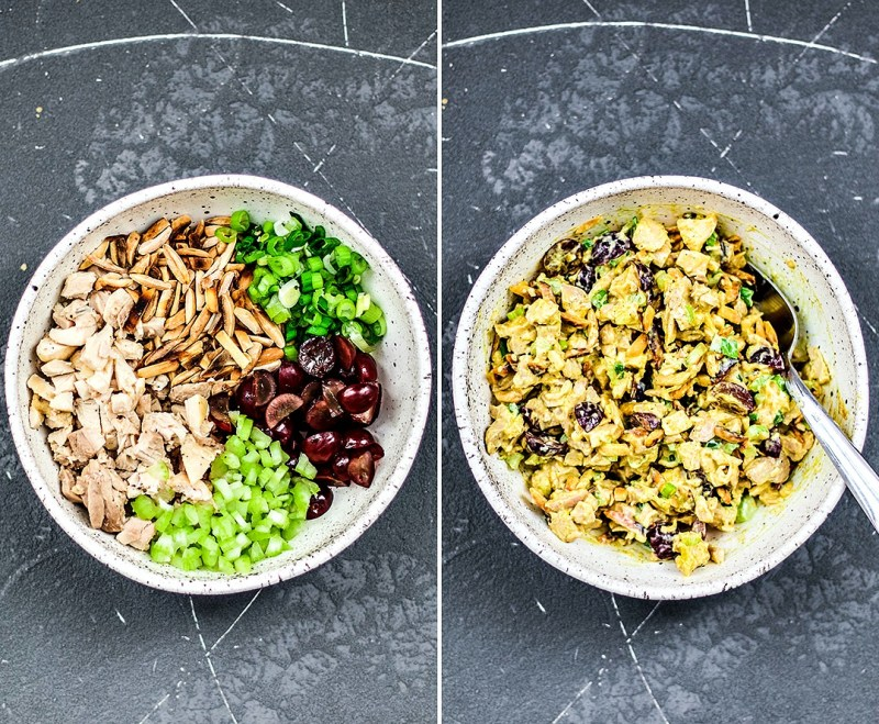 Side by side shot of bowl of ingredients separated and bowl of ingredients mixed together.