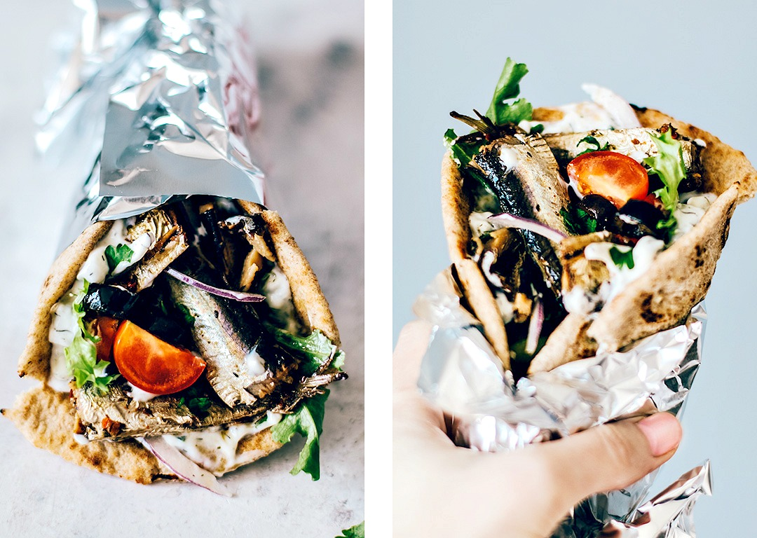 Greek Pita folded and wrapped like a gyro.