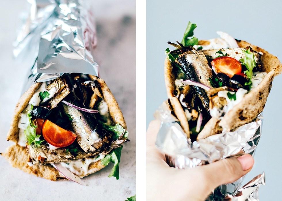 Greek Pita folded and wrapped like a gyro.