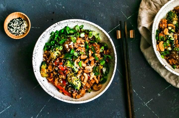 Bowl of Instant Pot Honey Garlic Cashew Chicken and Rice.