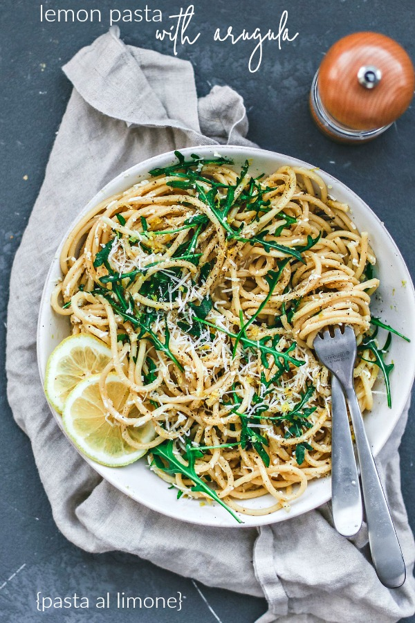 Lemon Pasta With Arugula {Pasta al Limone}