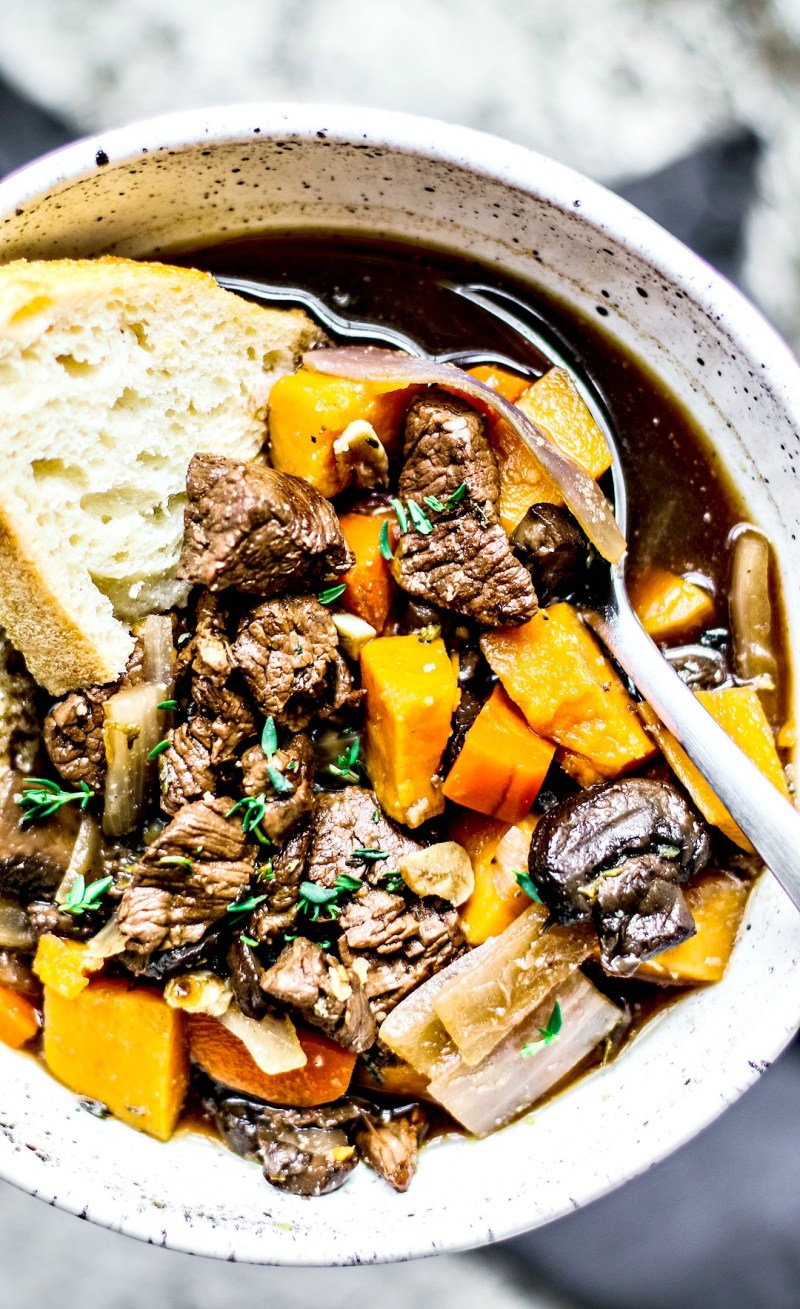 Close up of beef stew.
