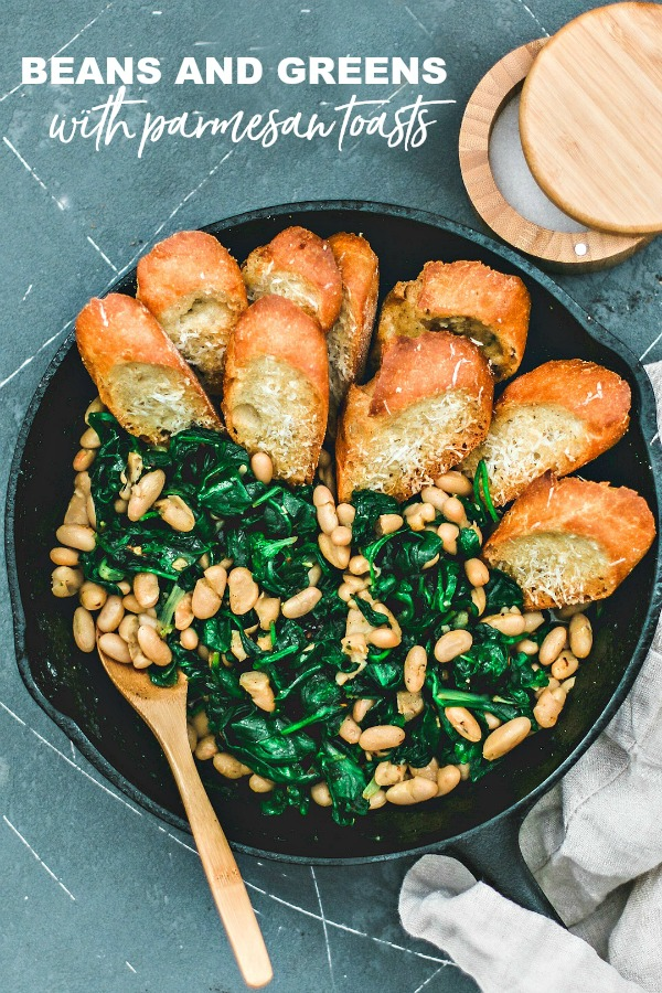 Beans and Greens with Buttery Parmesan Toasts