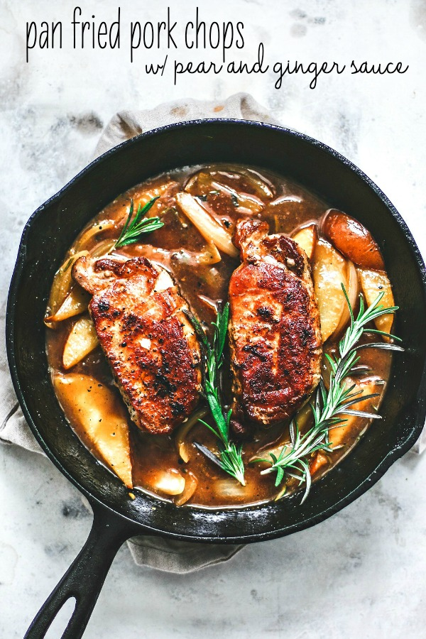 Pan Fried Pork Chops With Pear and Ginger Sauce.