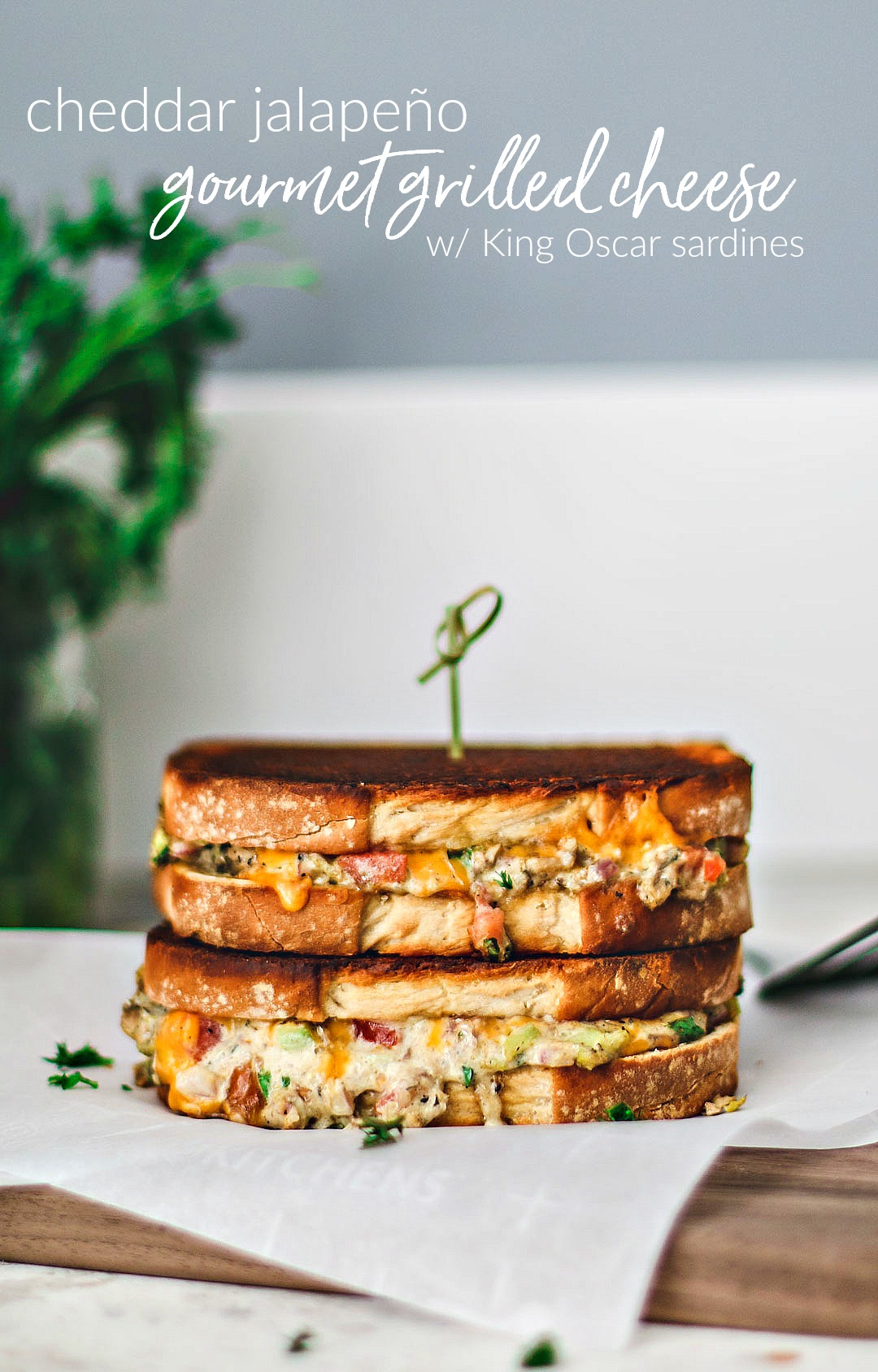 Cheddar Jalapeño Gourmet Grilled Cheese with King Oscar Sardines