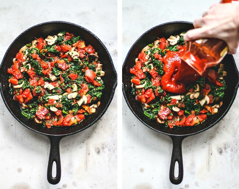 Skillet of ingredients with sauce being poured over.