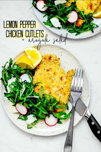 Lemon Pepper Chicken Cutlets with Arugula Salad