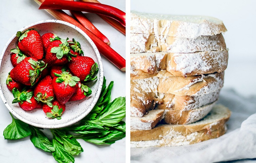 Ingredient collage with strawberries, basil, rhubarb, and sliced fresh bread.